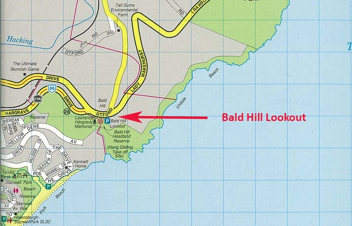 A map of Bald Hill Headland Reserve.