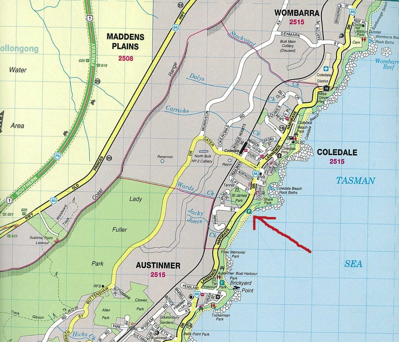 A map of Shark Park in Austinmer.